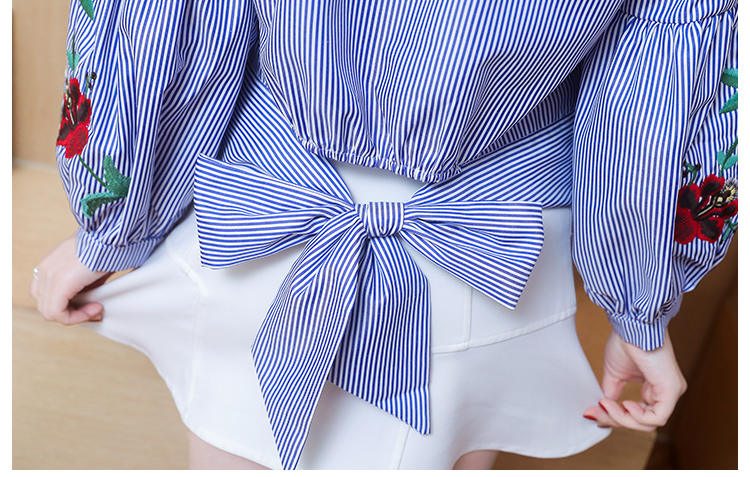 Embroidered women shirt bow striped Long sleeves blouses  5