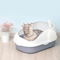 Portable Cat Litter Bowl Toilet Bedpans Large Middle Cat Excrement Training Sand Litter Box with Scoop for Pets Kitty