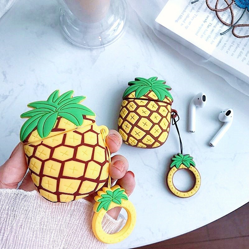 For airpods case Cute 3D Pineapple Fruit Soft Silicone For Apple airpods Charging Box Earphone Cases Headphone Protective Cover