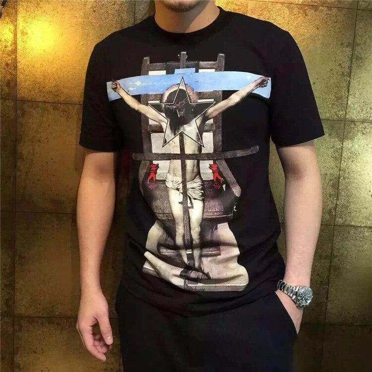 Spring New Fashion Tees Religion Theme Jesus Cross Print Tee T Shirt For Men Women Black Color Cotton