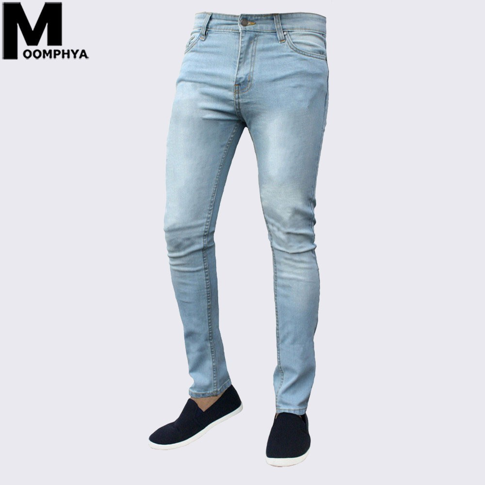 Moomphya 2019 New Casual plain skinny   jeans   men Comfortable soft men   jeans   Streetwear Slim Fit men   jeans   pants