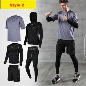 Image 3 - 5 Pieces Men Sportswear Hoodie O neck Sports Suit Elastic Tracksuit Black Gray Sport Clothing Jogging Fitness Gym Running Sets