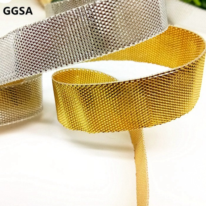 3 6 9 12 15 20 25 30mm Metallic Silk Ribbon DIY Browband Garment Gift Baking Packing Double Faced Gold Silver Glitter Ribbon