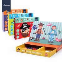 MiDeer imán puzle juguetes educativos para niños Traffic Dressing Face Game Set divertido reutilizable pegatinas para niños arte borrador regalo