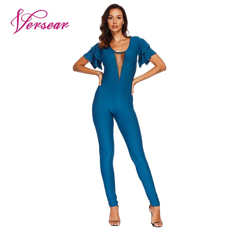 Versear Sexy Women Solid Bodysuit Hollow Out Ruffle Sleeve O Neck Backless Bodycon Jumpsuit Stretchy Romper Streetwear Playsuit