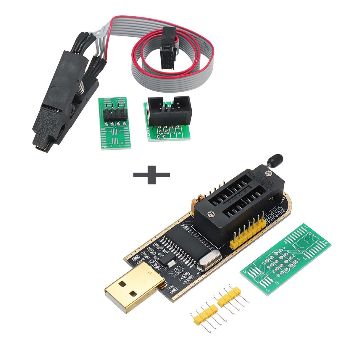 CH341A 24 25 Series EEPROM Flash BIOS USB Programmer + SOIC8 SOP8 Clip Adapter ModuleCH341A 24 25 Series EEPROM Flash BIOS USB Programmer + SOIC8 SOP8 Clip Adapter Module