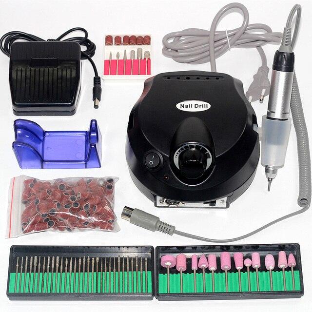 Electric Nail Drill Machine Acrylic 15W 30000RPM Nail File Drill Manicure Pedicure Kit Ceramic Stone Nail Drill Bit
