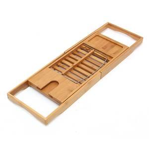 Image 4 - Uitschuifbare Badkamer Plank Bad Lade Douche Caddy Bamboe Bad Rack Handdoek Wijn Boek Houder Opslag Organisatie Accessoires