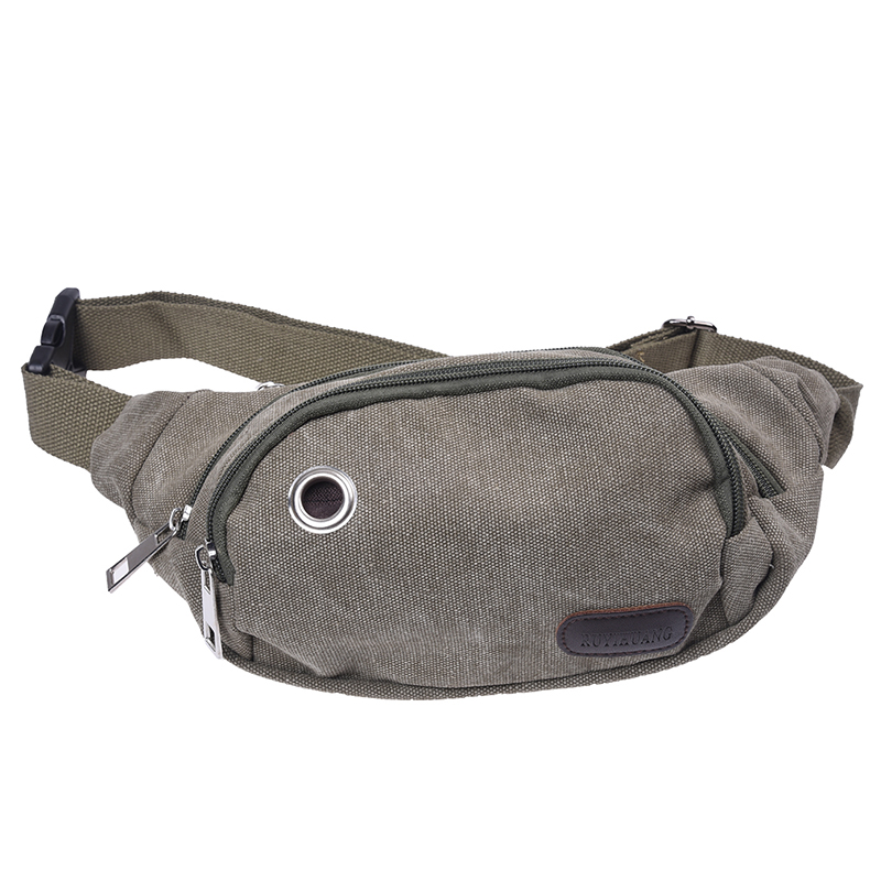 Men's Waist Bag Chest Pouch Canvas Military Green Travel Sport