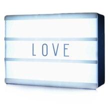 New LED Combination Night Light Box Lamp DIY Black Letters Cards USB Port Powered Cinema Lightbox цена в Москве и Питере