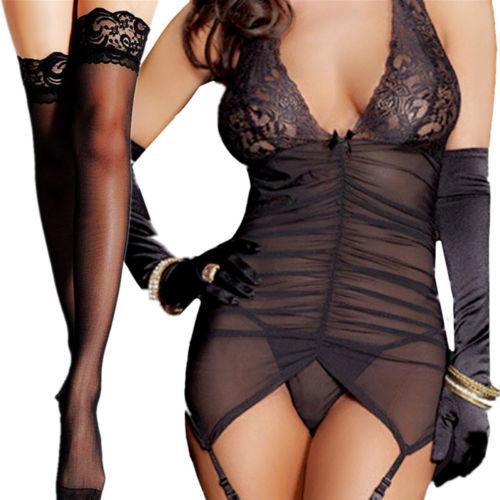 Babydoll Sleepwear Bra Set Sexy Women Lace Lingerie Nightwear Underwear G-string Black Sling Sexy Women Fancy Underwear Sets