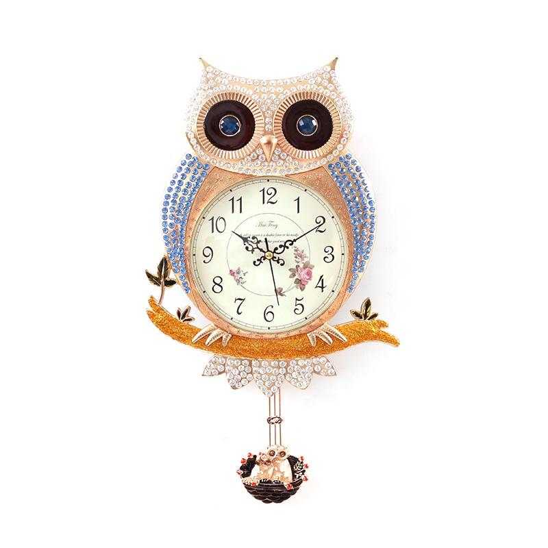Bijoux britanniques montres créatif hibou horloge ameublement peintures murales européennes Design moderne salon suspendu décoration murale pendentif