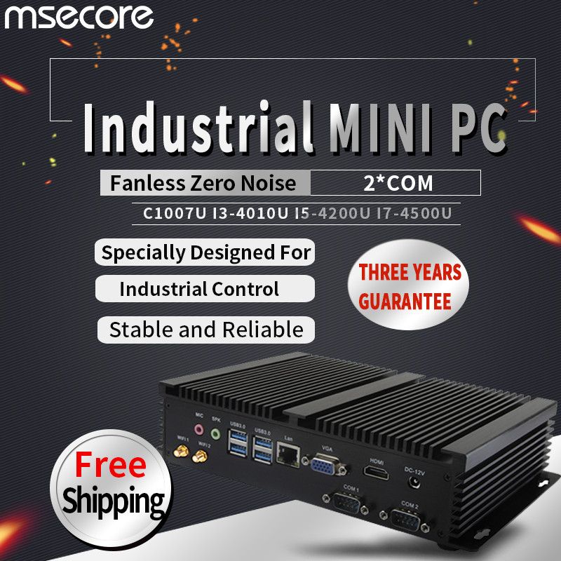 MSECORE 4TH Gen C1007U I3 I5 I7 Fanless Mini PC Windows 10 Industrial Computer Linux Nettop Barebone 2COM 8*USB HTPC 300M WiFi