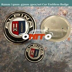 82mm 74mm 45mm Auto naklejki na kierownicę samochodu znaczek z symbolem bagażnika/kaptur/steer odznaka etykieta na logo alpina Chrome pcv 3 sztuk/partia w Naklejki samochodowe od Samochody i motocykle na