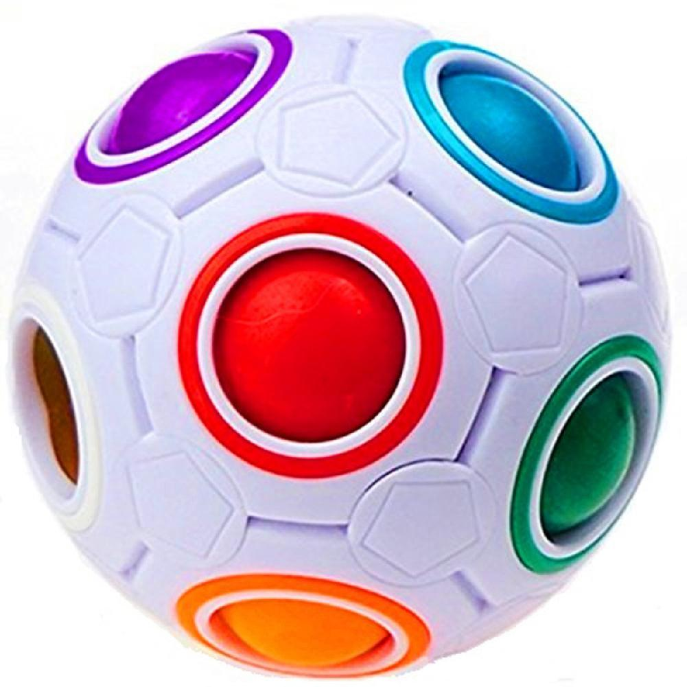 Plastic Cube Rainbow Magic Ball Puzzle Fun Fidget Children's Educational Toy Stress Reliever(1 Piece)