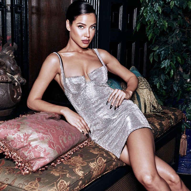 Feminino sexy vestido bodycon sem mangas festa de noite lantejoulas strappy mini vestido
