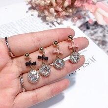 LNRRABC 2018 Korean New Round Crystal Pendant Drop Earrings For Women Fashion Sweet Bowknot Brincos Cute Gift Female accessories