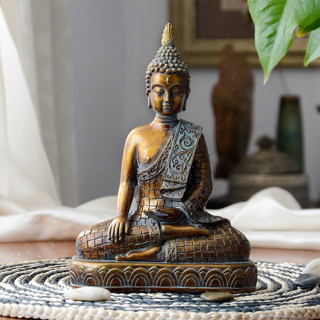 Buddha statues Thailand Buddha statue sculpture home decor office desk ornament vintage gift figurine Hindu siting Buddha 3