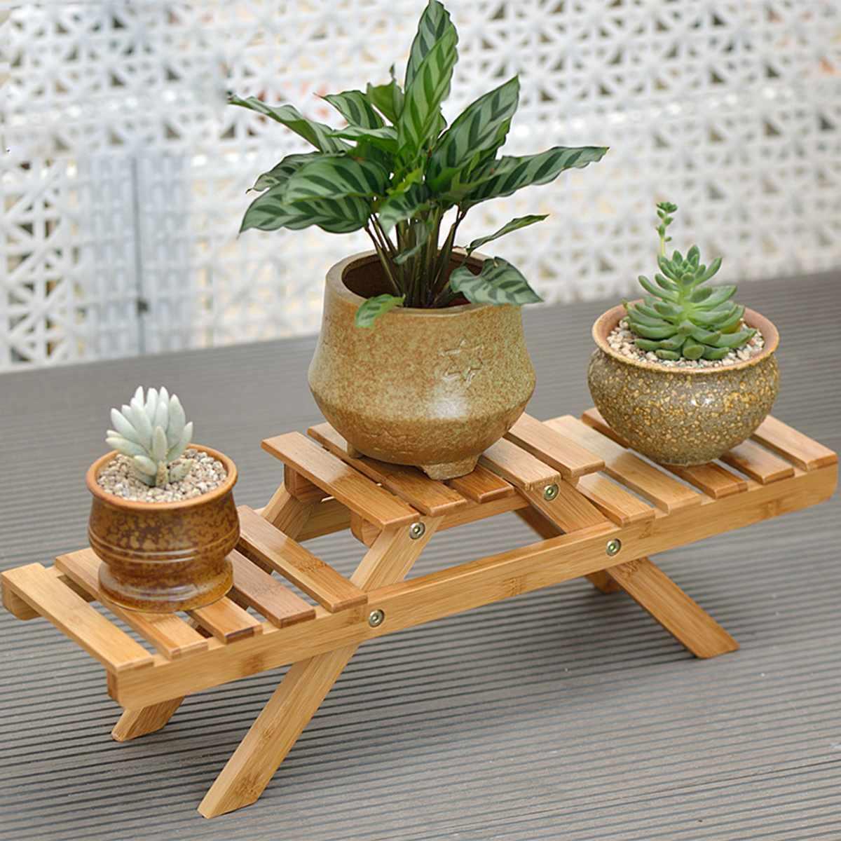 Soporte de flores para plantas de bambú, soporte de maceta para jardín, sala de estar, mesa, plantador, decoración de hogar de pie, interior y exterior