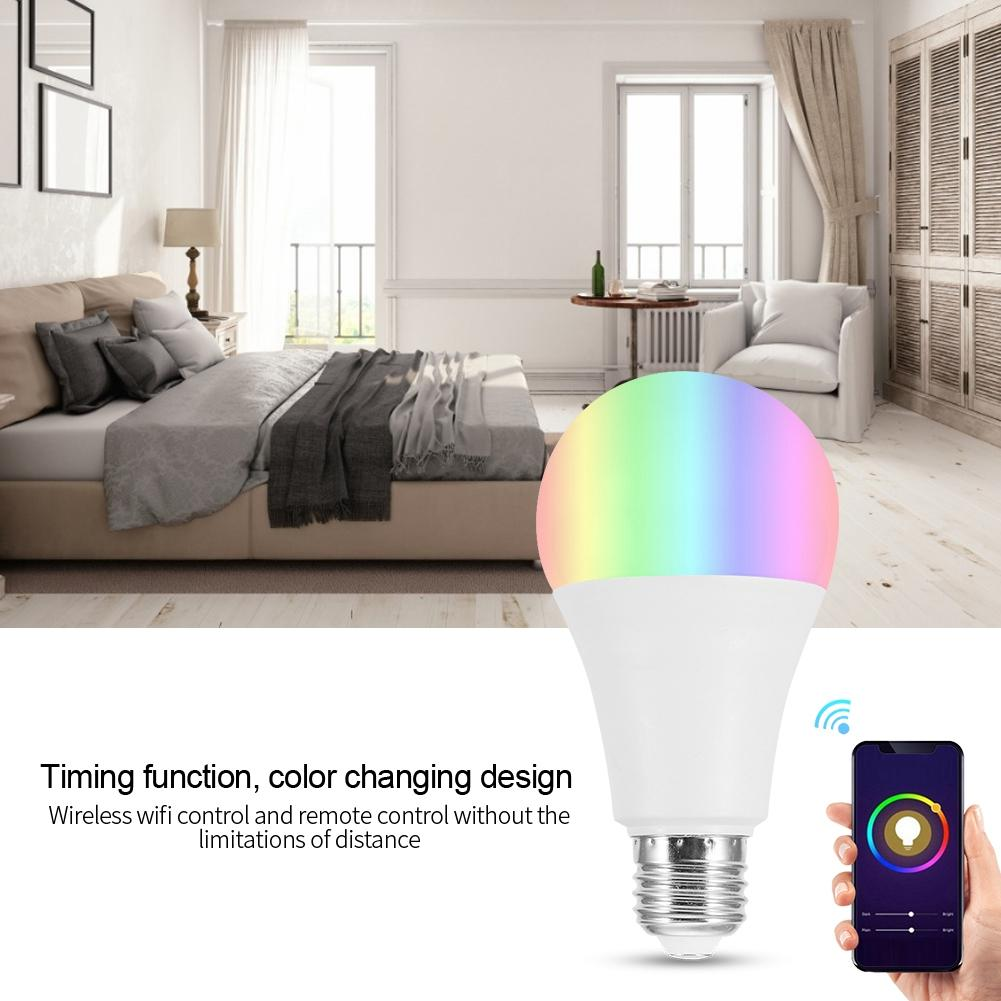 18W 15W 12W 9W 6W 3W AC100 264V 7W E27 RGBW LED Wi Fi Smart Lamp Bulbs Smartphone Controlled Light Bulb led light bulb e27 in LED Bulbs Tubes from Lights Lighting