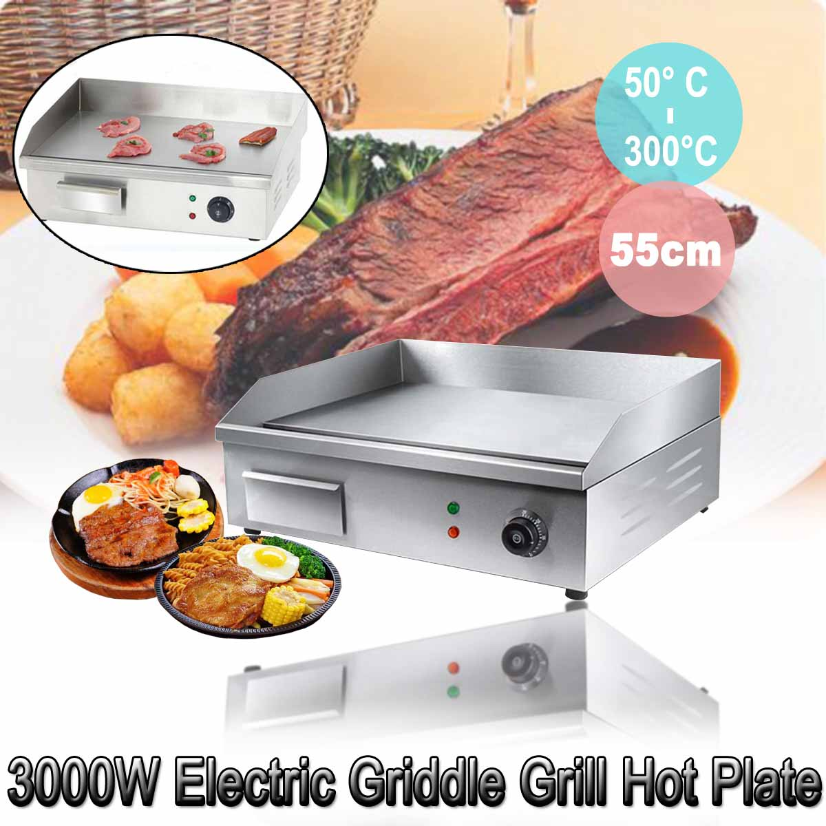 220 V Thermomate acier inoxydable plaque chauffante électrique barbecue plaque chauffante cuisine commerciale outil de cuisson accessoire