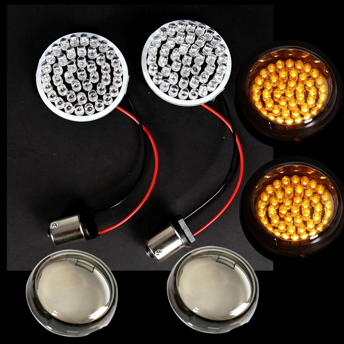 2/'/'Bullet Amber LED Turn Signal Light Inserts 1156 for Harley Sportster 883 1200