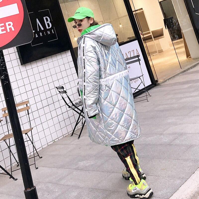 Pour 2018 Bonjean Capuche Lettres Vestes Silver Veste Et Coton Avec Poche Imprimer Épaississent Longue À Femmes Bj729 Manteaux Hiver Bx1Ix