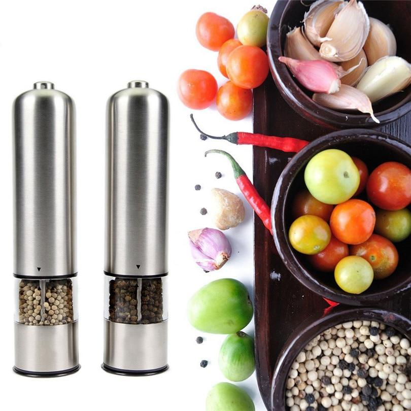 Image 5 - Molinillo Eléctrico de pimienta y sal molinillo de pimienta aspereza ajustable molinillo de especias Muller herramienta de cocina batería no incluidaMolinillos   -