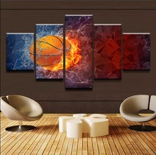 Abstract Poster Modern Frame Wall Art Canvas Printed Pictures Boys Room Decor 5 Piece Flame and Water Sport Basketball Painting