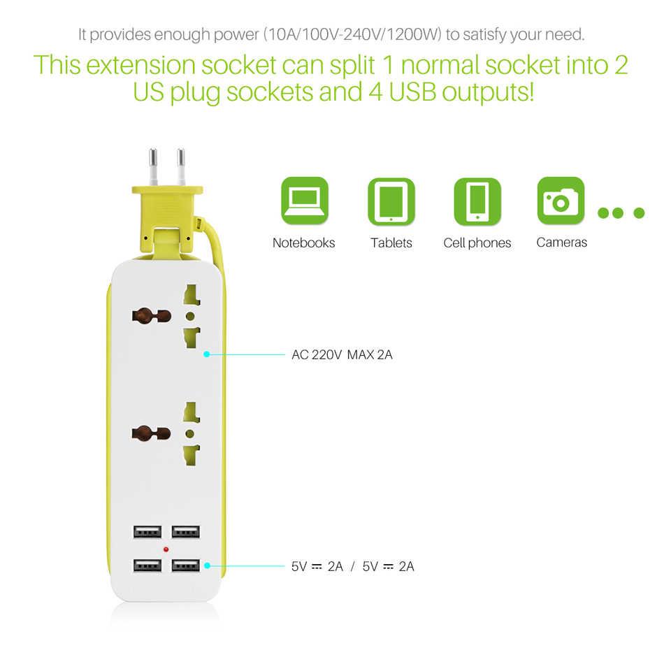 EU/US Cắm Mở Rộng Ổ Cắm Ổ Cắm Du Lịch Xách Tay Power Strip Surge Protector với 4 USB Thông Minh Tường Sạc Máy Tính Để Bàn cáp trung tâm