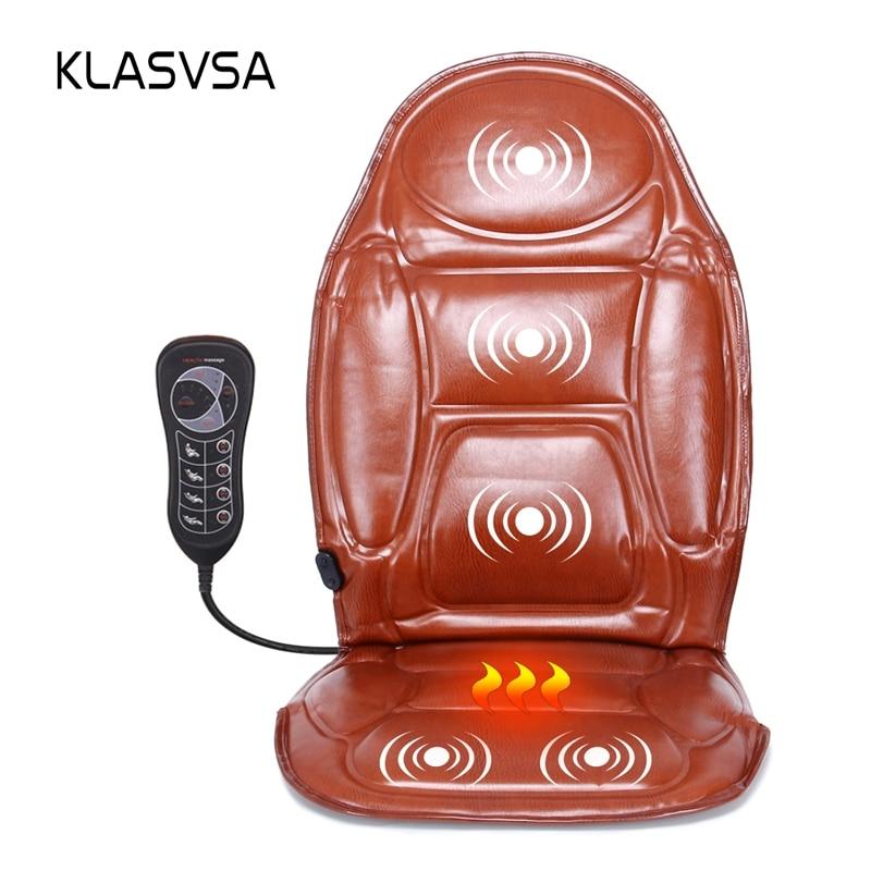 KLASVSA Electric Heating Back Massager Chair Cushion Vibrator Mat Car Home Office Back Neck Waist Health