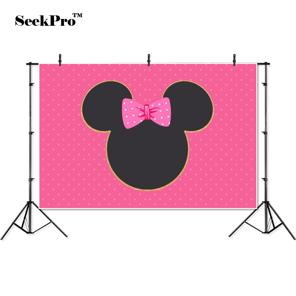 Thin Vinyl Minnie Bow Dots Children Birthday Party Banner Background Printed Professional Indoor Photographic Studio Backdrop