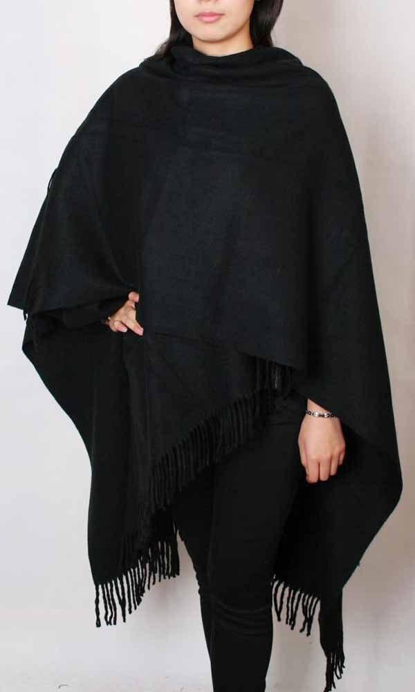 1552fe9a81ac ᗔLivraison Gratuite Noir Hiver Chinois Femmes de 100% Laine Châle ...