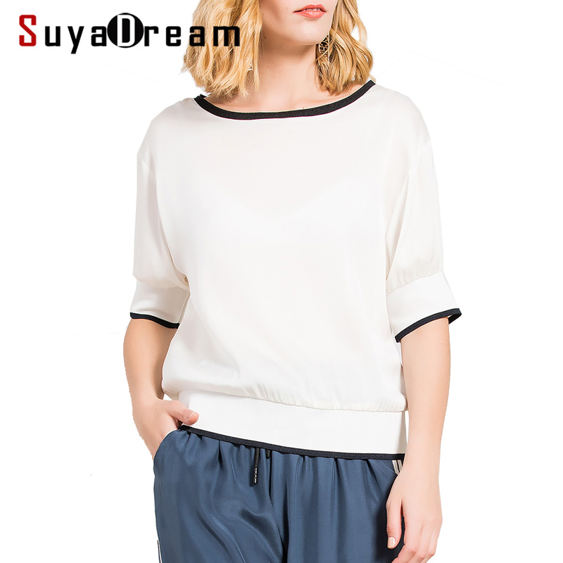 Women White T shirt 95 Real Silk 5 Spandex Short Sleeved Top Ribs Hems Fashion T