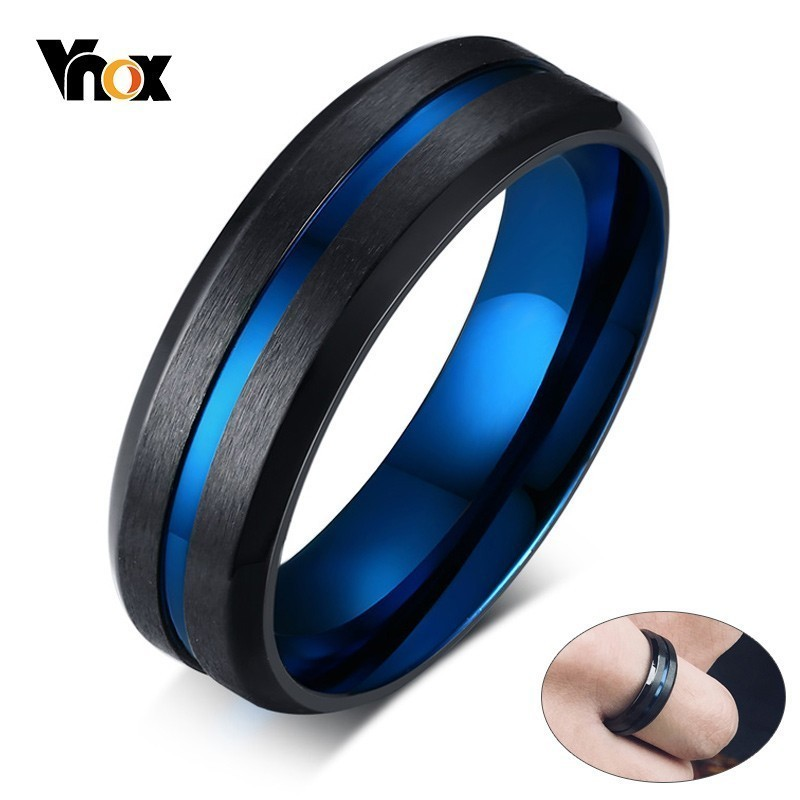 Vnox Mens Ring Accessories Blue-Line Stainless-Steel Finished Gentleman Matte Thin Unique