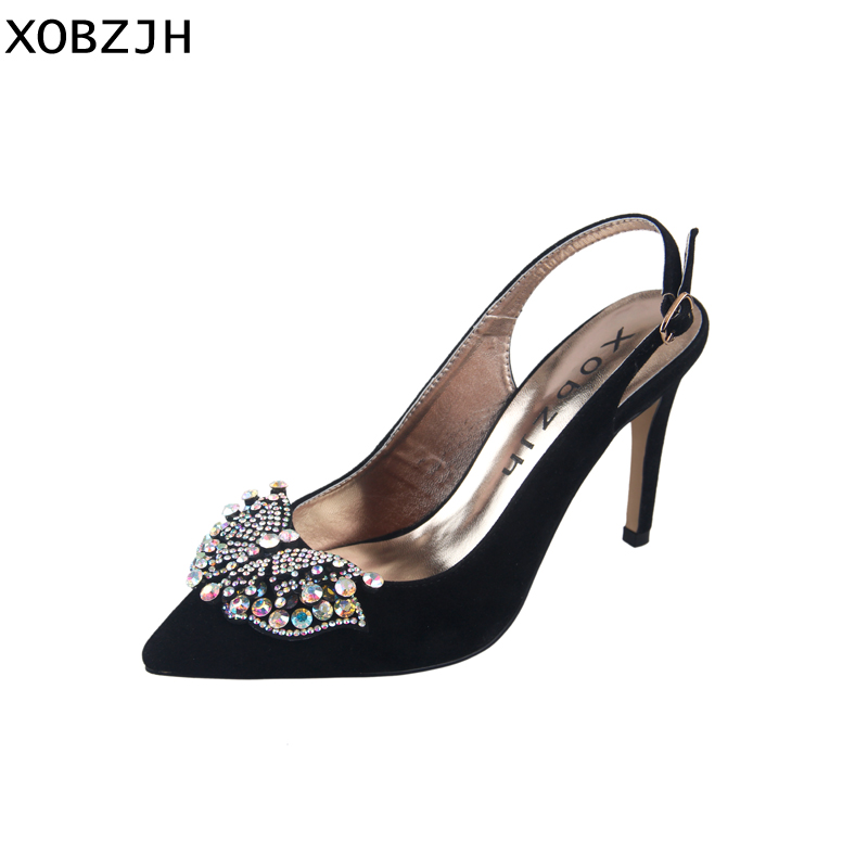 High Heels Women Pumps 2019 Summer Sexy Ladies Luxury Wedding Party Shoes  Black Rhinestone Buckle Pointed de0a72341ee4
