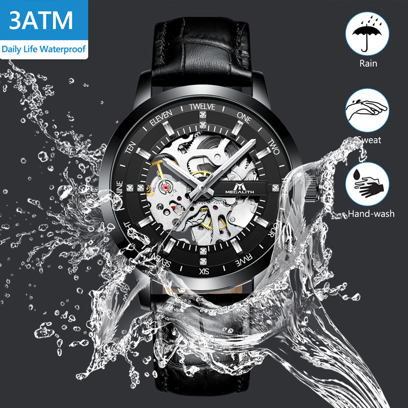 MEGALITH Fashion Skeleton Automatic Watch Men Waterproof Black Leather Strap Mechanical Watch Men Wrist Watch Clock Montre HommeMEGALITH Fashion Skeleton Automatic Watch Men Waterproof Black Leather Strap Mechanical Watch Men Wrist Watch Clock Montre Homme