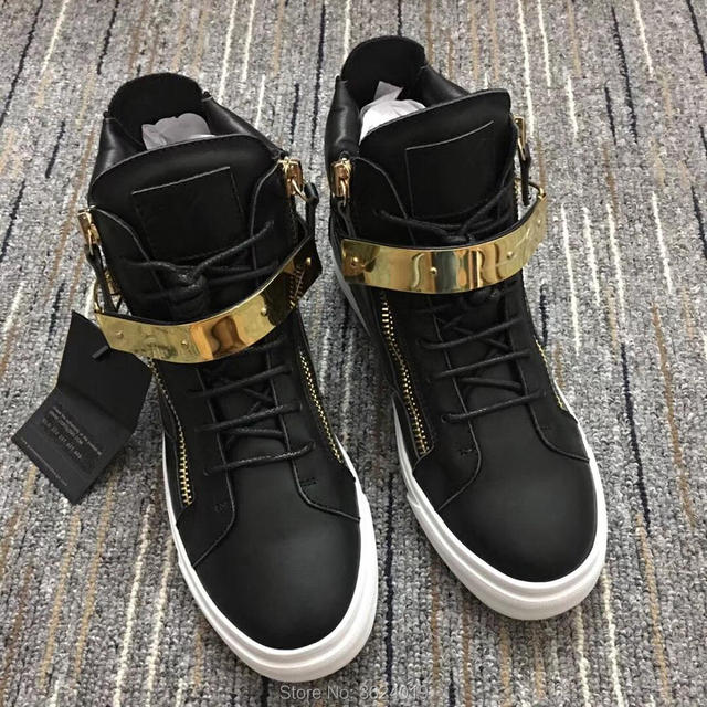 Outdoor Sports cl and gz Black Lace-Up Single Gold buckle Sneakers High-top  Leather Loafers Man s Flat 2018 Footwear Spring 0e1dc8c895fc