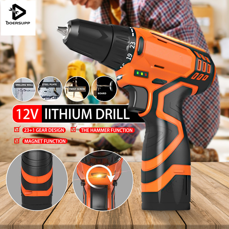 AU 220V Electric Drill Cordless Screwdriver Lithium Battery Cordless Screwdriver Power Tools Double Speed Charging Drill