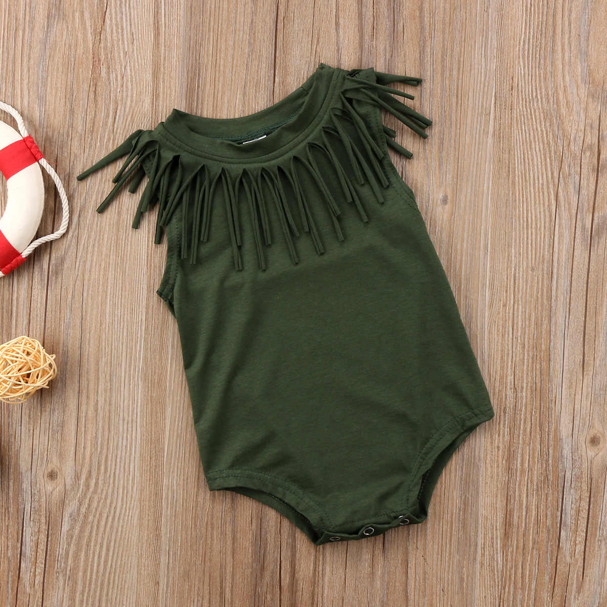 Одежда для маленьких девочек девочки преддошкольного возраста Винтаж кисточкой Ползунки Черный/армейский зеленый хлопковые комбинезоны летняя одежда