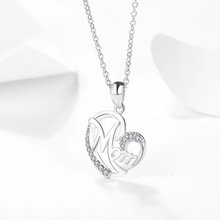 Real sterling silver 925 mom necklace in jewelry love heart shape pendant necklace chain fashion silver jewelry for mother's day все цены