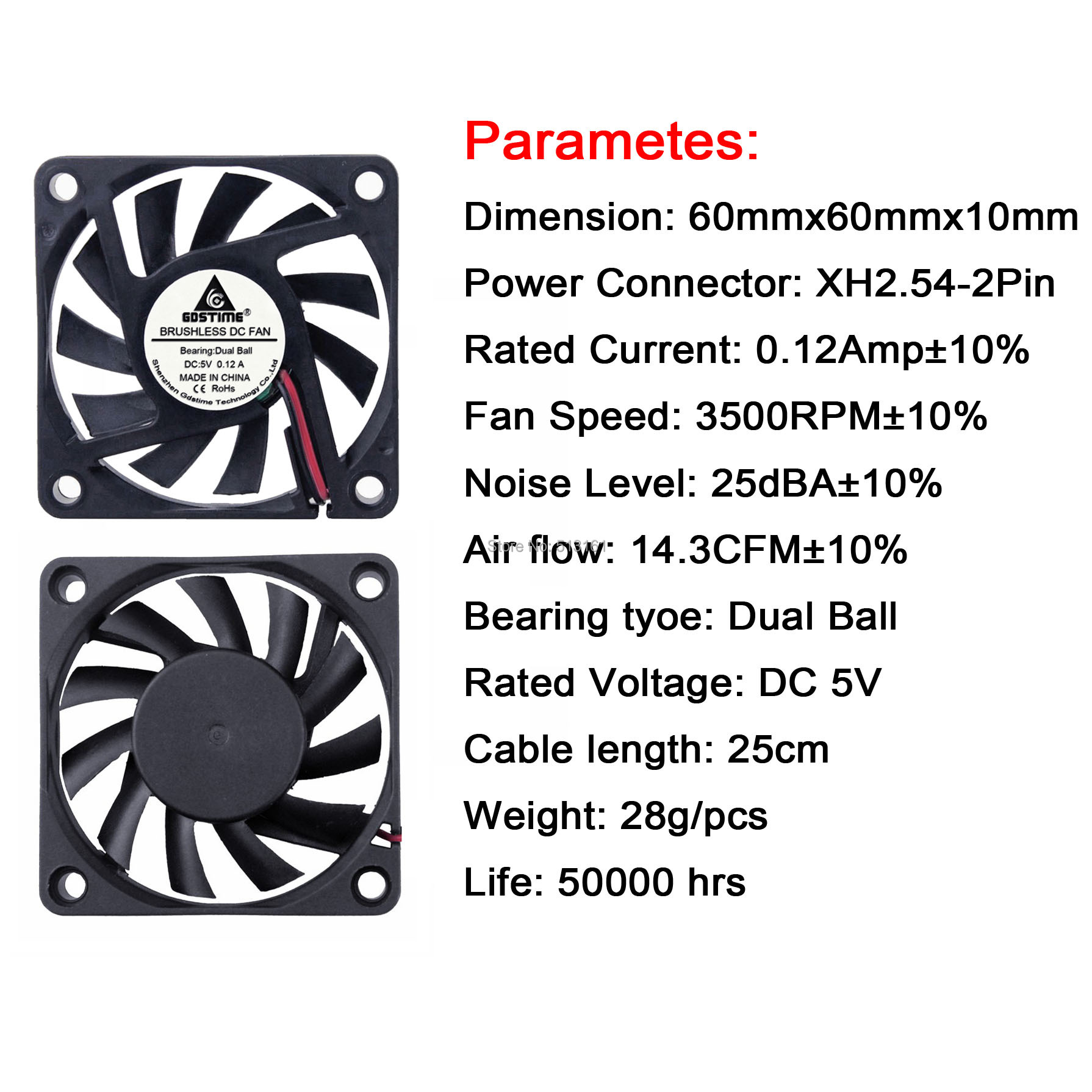 10pcs Gdstime 5V 60mm Dual Ball Fan 60mm x 10mm DC Brushless Cooling Cooler Fan for Industry PC CPU Computer Case in Fans Cooling from Computer Office