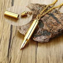 Stainless Steel Bullet Pendant Men Necklace In Gold Color Urn Ash Creation Jewelry(China)
