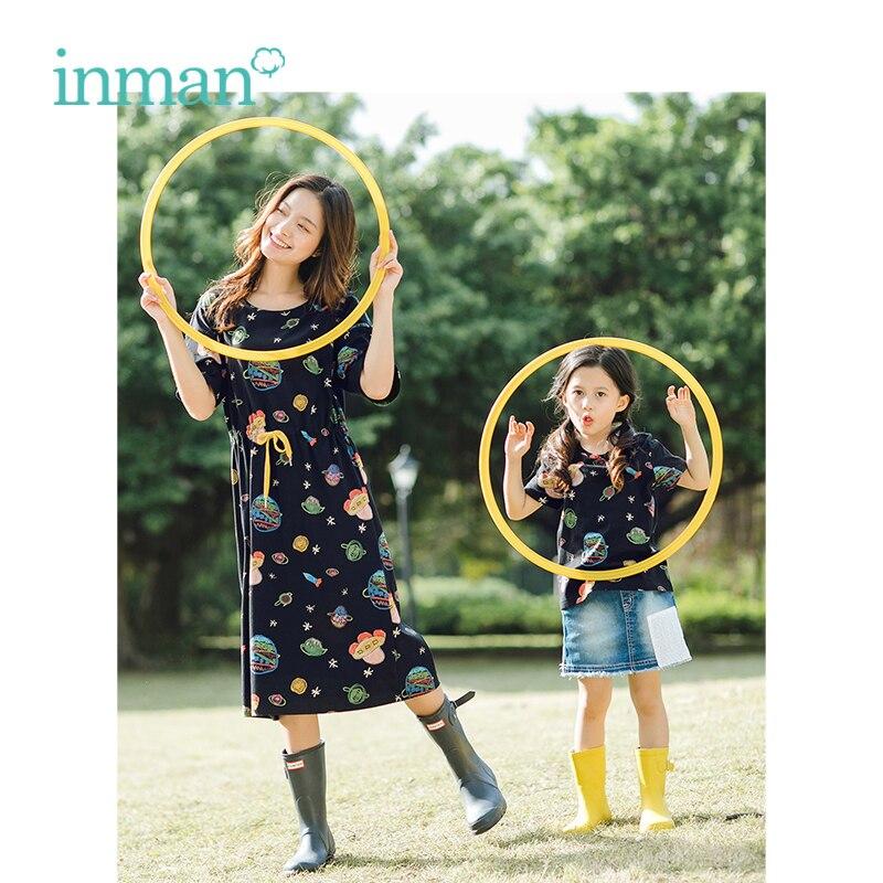 INMAN 2019 Summer New Arrival O-neck Funny Print Defined Waist Slim Loose Casual Medium Short Sleeve Women Dress