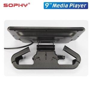 Image 4 - 9 סנטימטרים רכב LED כרית משענת ראש צג אחורי מושב בידור מולטימדיה נגן MP4/MP5 מראה קישור להסרה מגע מסך