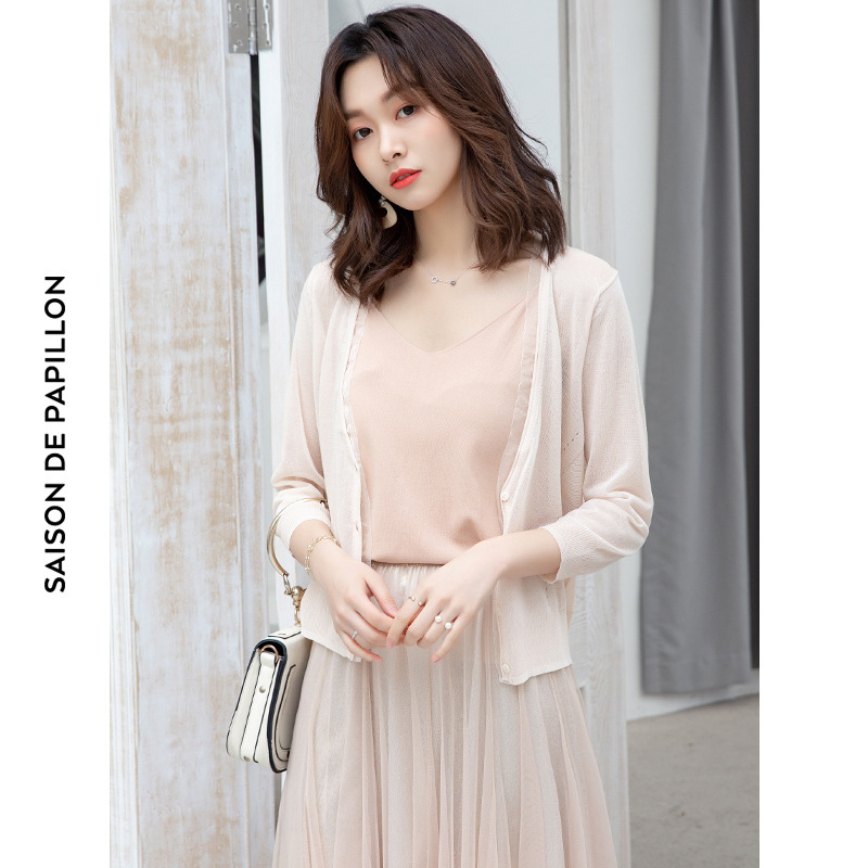 Three Quarter Sleeve Ice Silk Tippet Hollow Out Loose Wild Outwear Cardigan Thin Shawl Mujer Summer Sunscreen Cardigan M1906