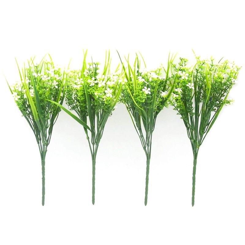 Цветы Растения 4 шт. искусственная пластик кустарник букет моделирование зелень кусты Крытый вне дома сад офисный, Свадебный декор