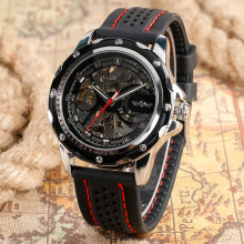 цены Skeleton Dial Automatic Mechanical Watch Silicone Strap Black Dial Mechanical Watches Men Luxury relogios masculino