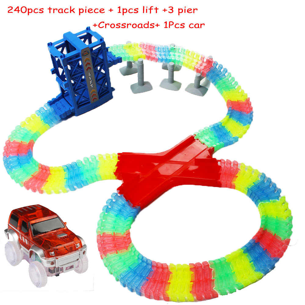 d96cccef53d82 240pcs DIY Racetrack Collection LED Car Toys Roller Coaster Magical track  Toys Kids Bend Flexible Track