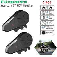 Dropshipping 2 pcs BT S3 Pro motorcycle helmet intercom motorbike wireless bluetooth Headset waterproof FM Radio BT Interphone
